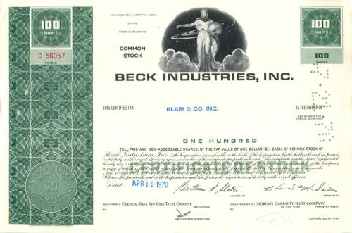 100 акций («Beck Industries, Inc») 1970 года (США)