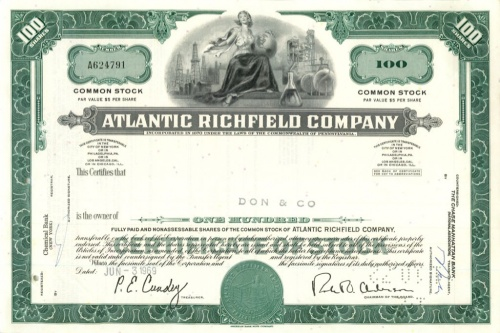 100 акций («Atlantic Richfield Company») 1969 года (США)
