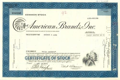 500 акций («American Brands, Inc») 1975 года (США)