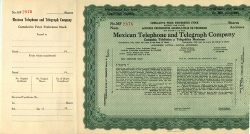 100 акций («Mexican Telephone And Telegraph Company») (США)