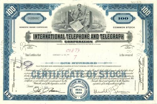 100 акций («International Telephone And Telegraph») 1966 года (США)