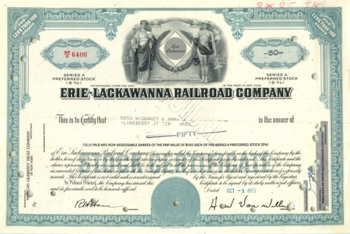 50 акций («Erie-Lackawanna Railroad Company») 1963 года (США)