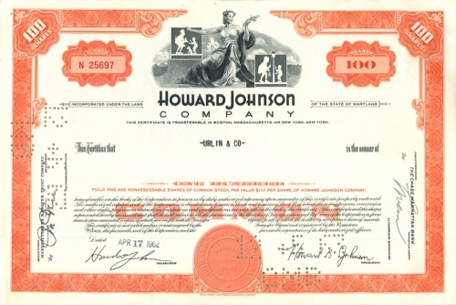 100 акций («Howard Johnson Company») 1962 года (США)