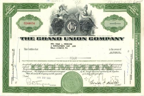 4 акции («The Grand Union Company») 1965 года (США)