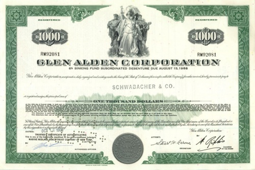 1000 долларов (акция «Glen Alden Corporation») 1960 года (США)