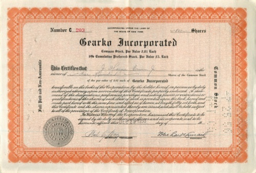 500 акций («Gearko Incorporated») 1950 года (США)