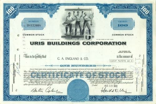 100 акций («Uris Buildings Corporation») 1972 года (США)