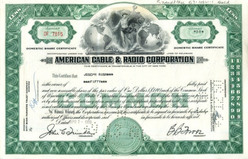 50 акций («American Cable & Radio Corporation») 1959 года (США)
