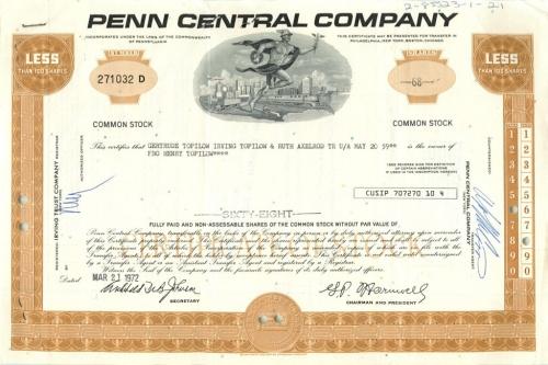 68 акций («Penn Central Company») 1972 года (США)