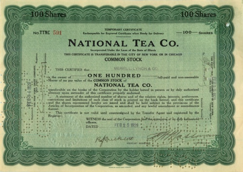 100 акций («National Tea Co.») 1929 года (США)