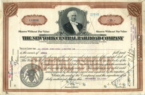 10 акций «The New York Central Railroad Company» 1935 года (США)