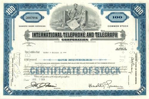 100 акций «International Telephone and Telegraph» 1968 года (США)