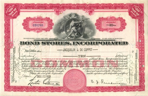 10 акций «Bond Stores, Incorporated» 1939 года (США)
