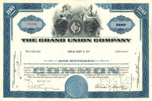 100 акций «The Grand Union Company» 1961 года (США)