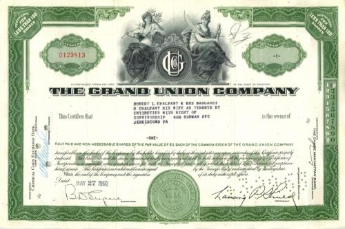 1 акция «The Grand Union Company» 1960 года (США)