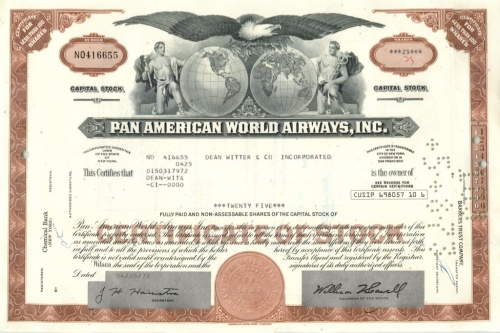 25 акций «Pan American World Airways, Inc» 1973 года (США)