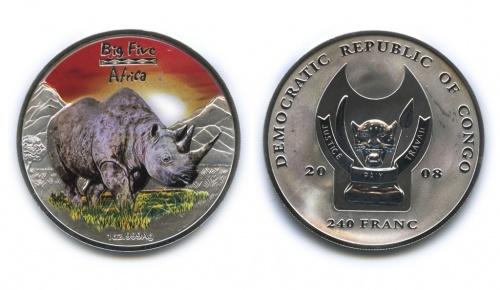 240 франков - Большая пятерка животных Африки - Носорог, Республика Конго (вцвете, воригинальной коробке, ссертификатом) 2008 года