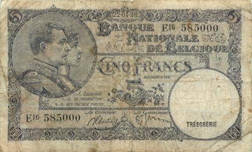 5 франков 1988 года (Бельгия)