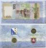 Набор монет 10 рублей вальбоме «Вхождение всостав Российской Федерации Крыма» (сбанкнотой) 2014 года (Россия)