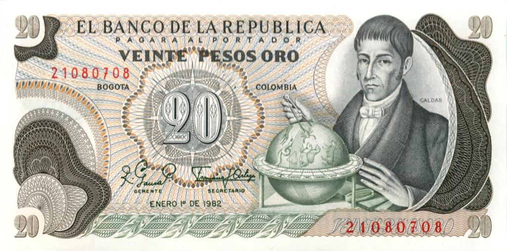 20 песо 1982 года (Колумбия)