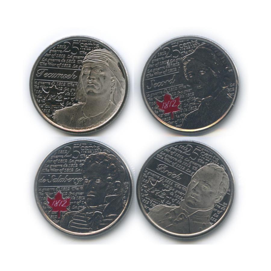 Набор юбилейных монет 25 центов (квотер), взапайках 2012, 2013 (Канада)