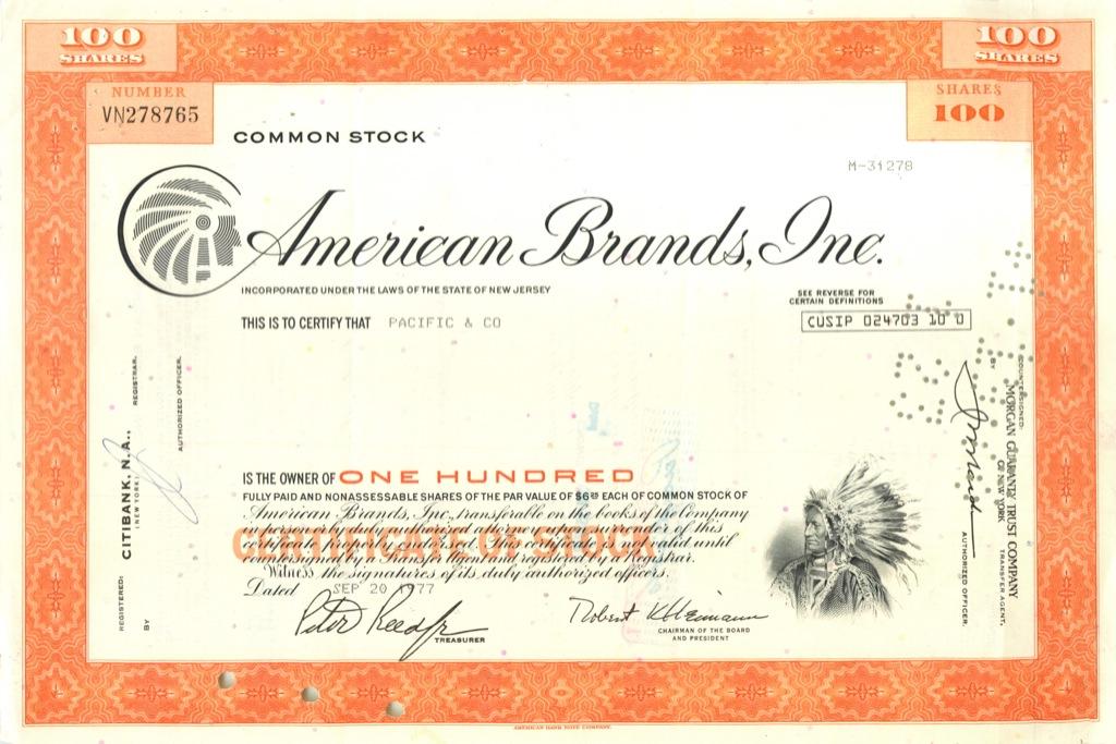 100 акций «American Brands, Inc» 1977 года (США)