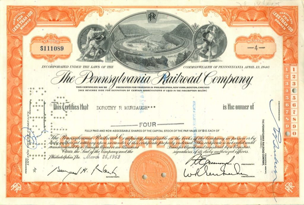 4 акции «The Pennsylvania Railroad Company» 1963 года (США)