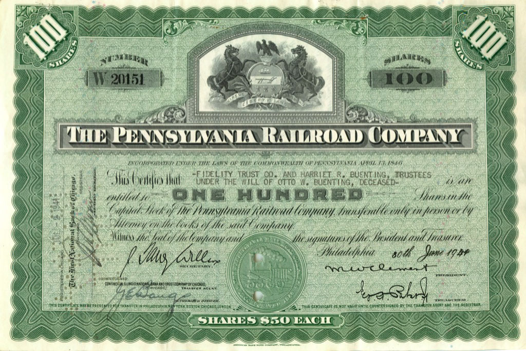 100 акций «The Pennsylvania Railroad Company» 1944 года (США)