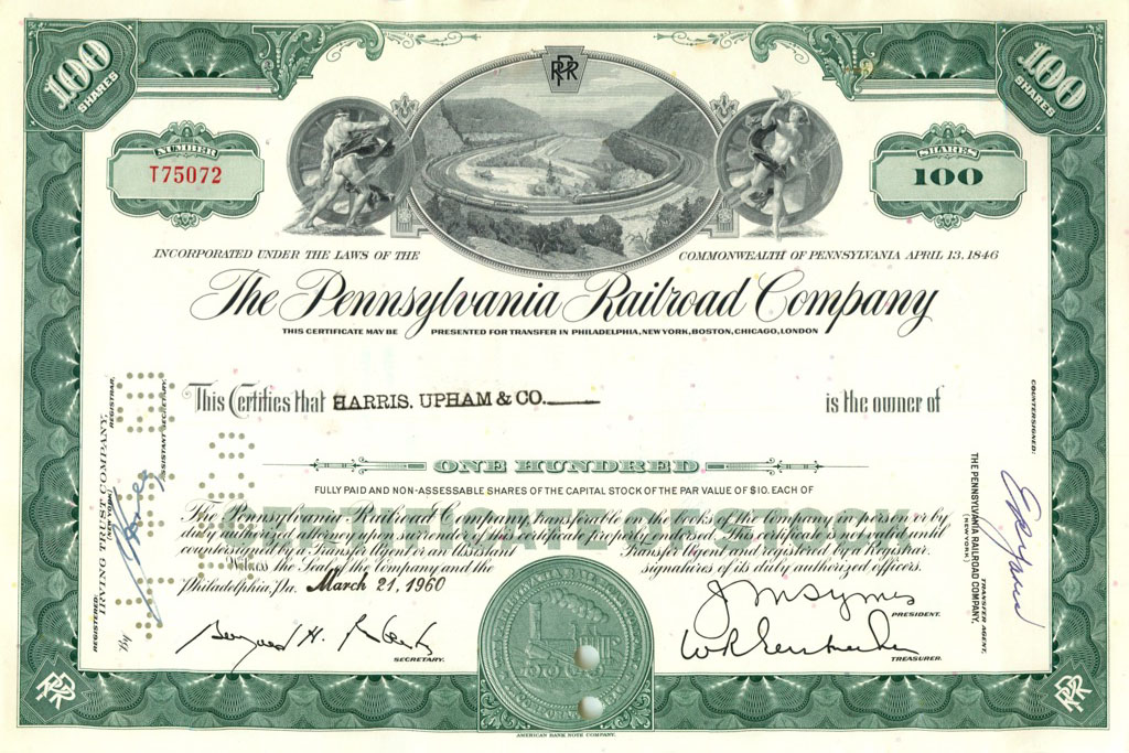 100 акций «The Pennsylvania Railroad Company» 1960 года (США)