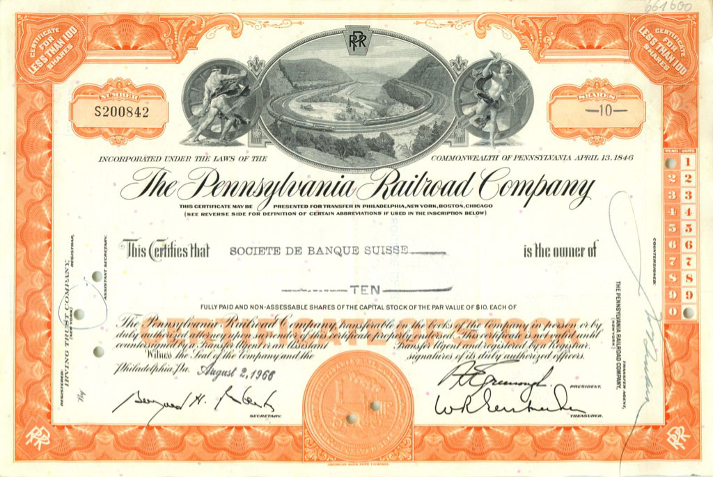 10 акций «The Pennsylvania Railroad Company» 1966 года (США)