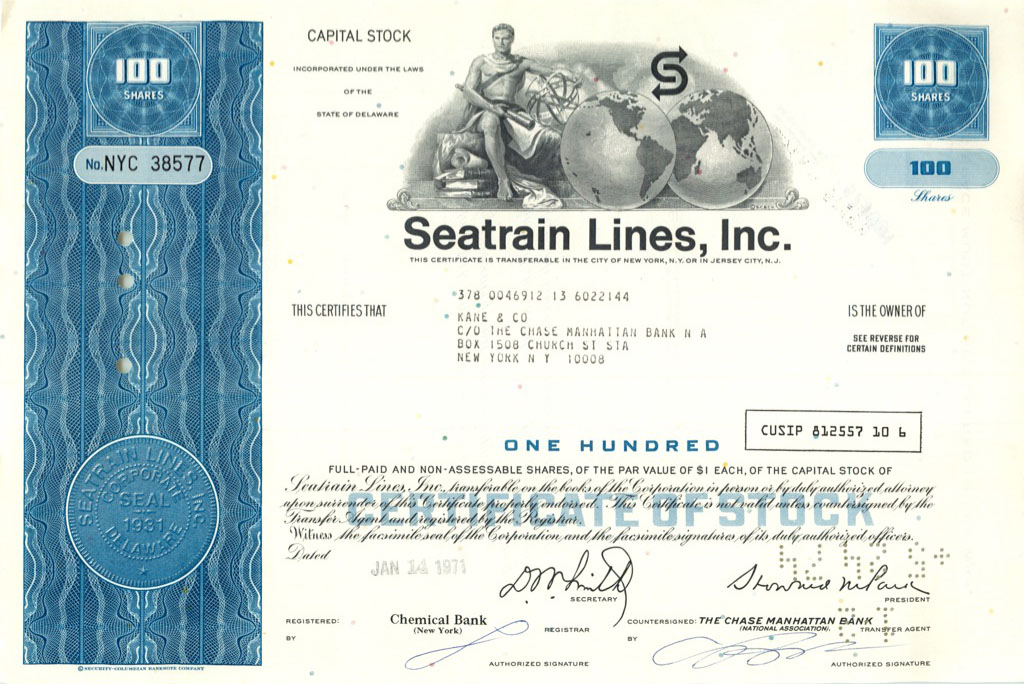 100 акций «Seatrain Lines, Inc» 1971 года (США)