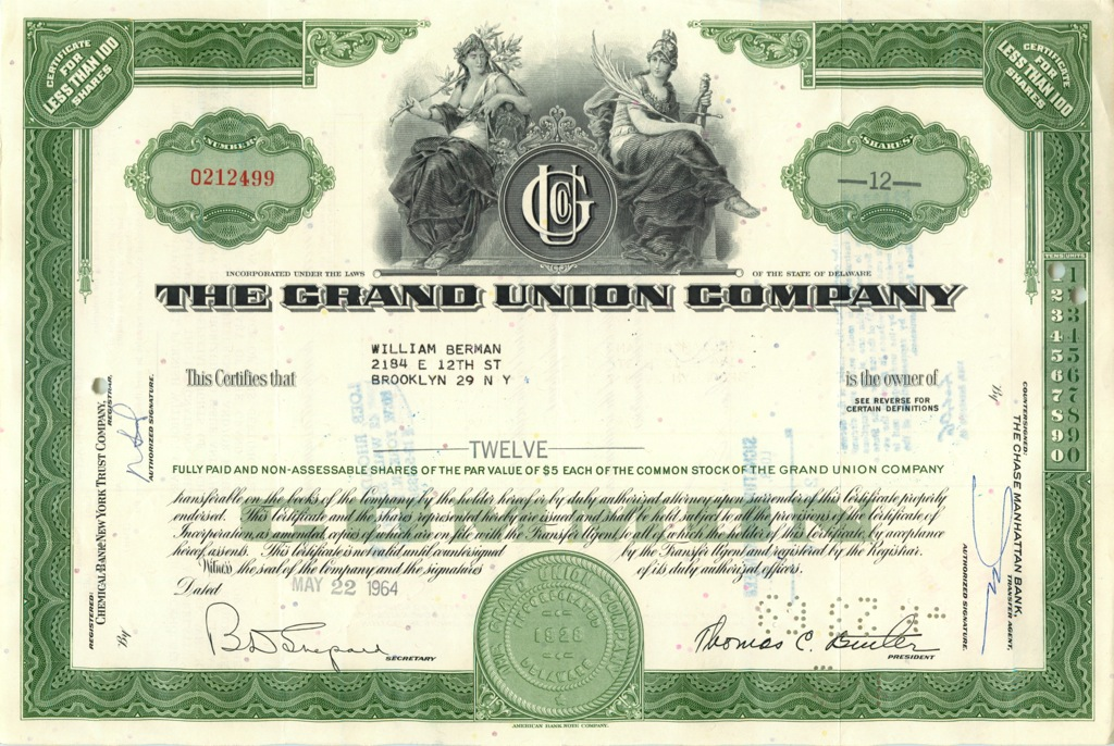 12 акций «The Grand Union Company» 1964 года (США)