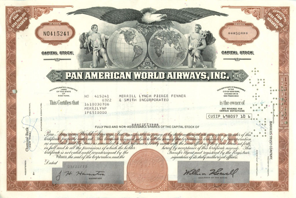 50 акций «Pan American World Airways, Inc» 1973 года (США)