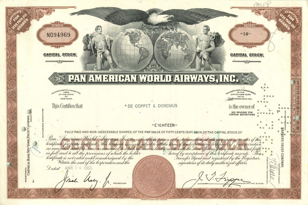 18 акций «Pan American World Airways, Inc» 1966 года (США)