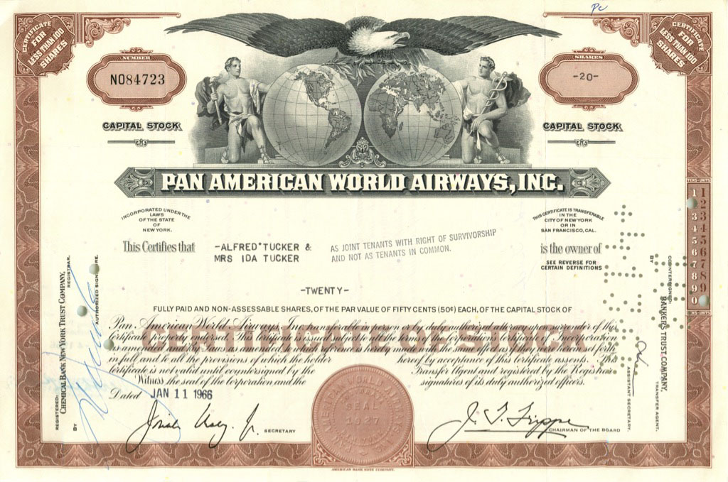 20 акций «Pan American World Airways, Inc» 1966 года (США)