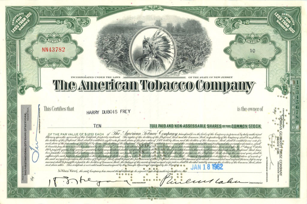 10 акций «The American Tobacco Company» 1962 года (США)