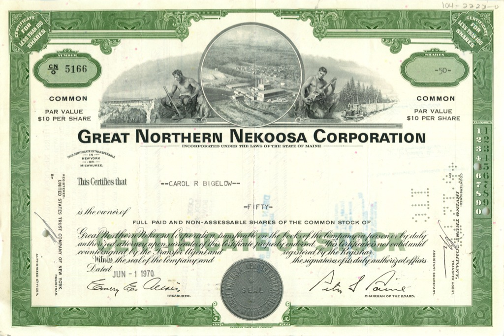 50 акций «Great Northern Nekoosa Corporation» 1970 года (США)