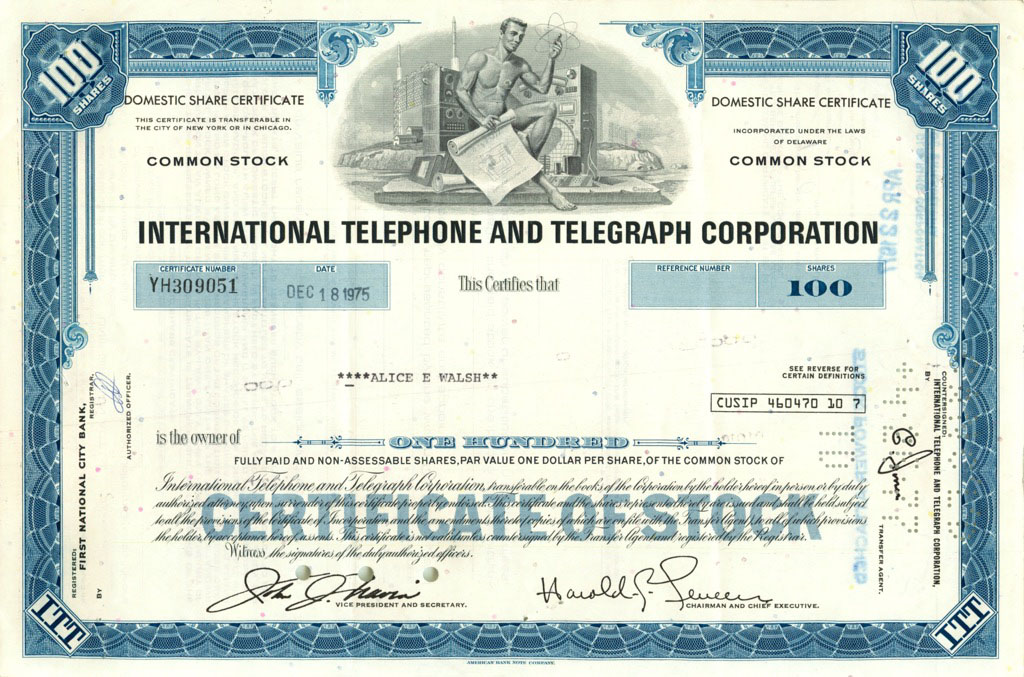 100 акций «International Telephone and Telegraph Corporation» 1975 года (США)