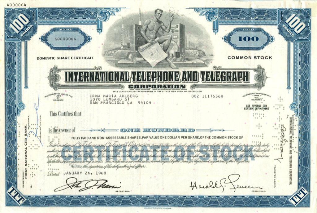 100 акций «International Telephone and Telegraph Corporation» 1968 года (США)