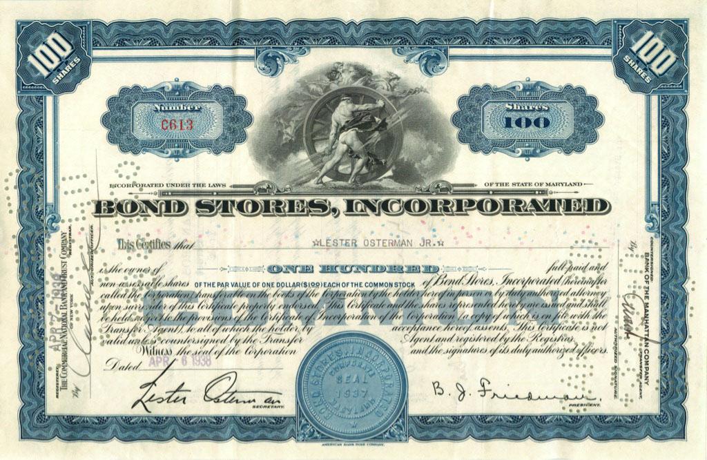 100 акций «Bond Stores, Incorporated» 1938 года (США)
