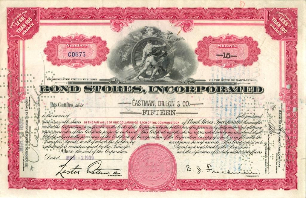 15 акций «Bond Stores, Incorporated» 1939 года (США)