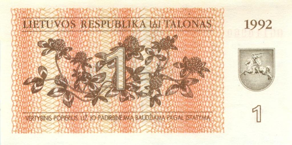 1 талон 1992 года (Литва)