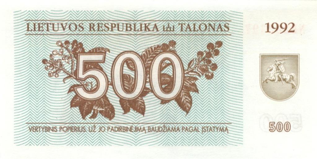 500 талонов 1992 года (Литва)