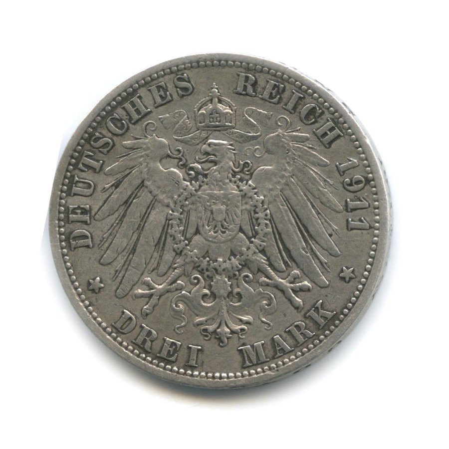 3 марки - Вильгельм II, Пруссия 1911 года