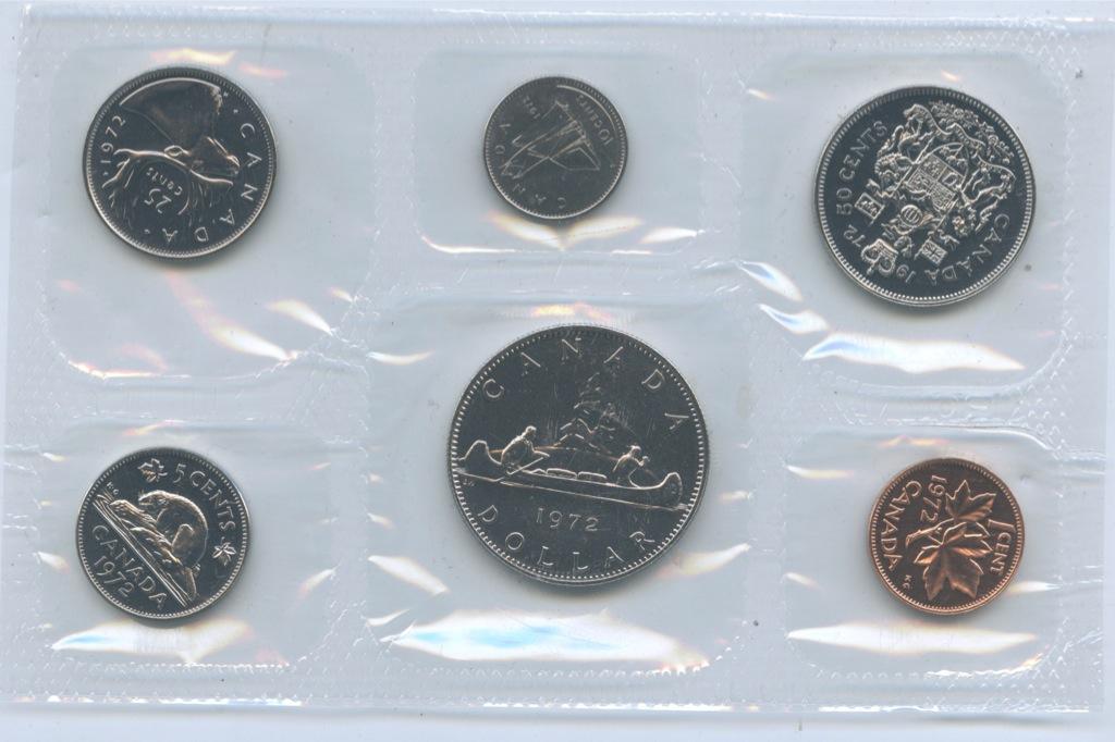 Набор монет (взапайке, вконверте) 1972 года (Канада)