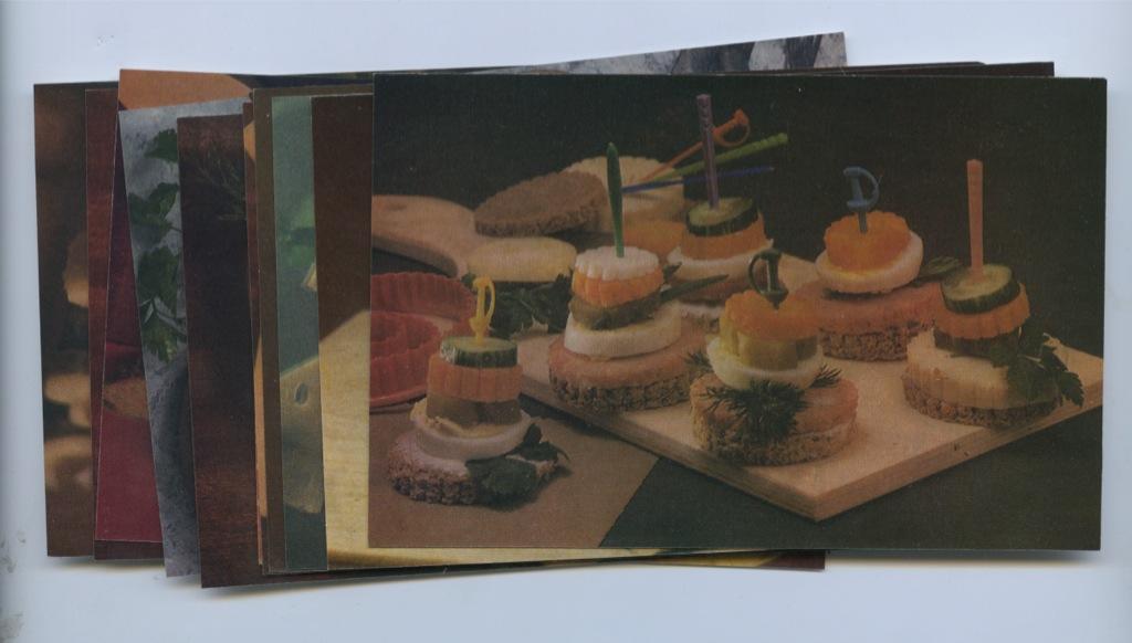 Набор открыток «Бутерброды» (12 шт.) 1987 года (СССР)