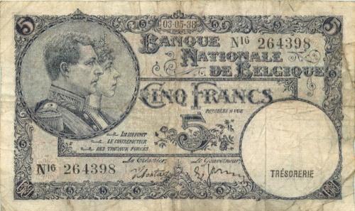 5 франков 1938 года (Бельгия)