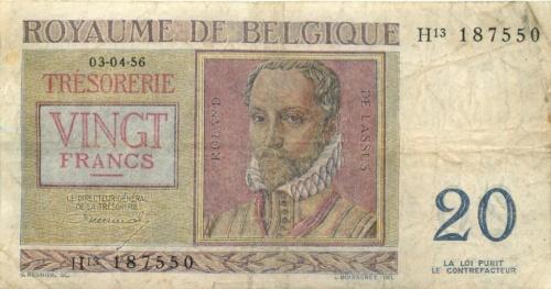 20 франков 1959 года (Бельгия)
