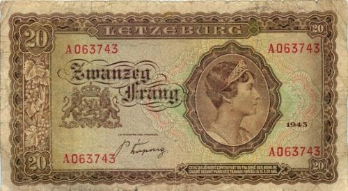 20 франков 1943 года (Люксембург)