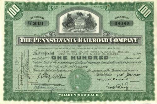 100 акций «The Pennsylvania Railroad Company» 1944 года (США)